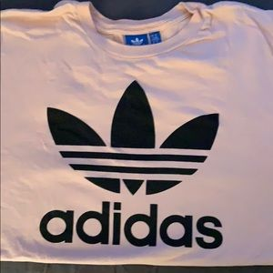 Adidas light pink original logo tee